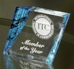 3x3 Blue/Clear Acrylic PaperweightAzure Blue marbleized Lucite bevels merge with a pristine clear acrylic base creating a contemporary award. This new and exclusive design is lasered with precision cut personalization. All items include lettering and logo.Call 800-830-3386 to buy now!