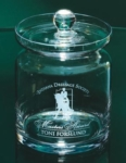 Crystal Aladdin Candy Jar with LidEvery office and teachers desk should have a candy dish. This crystal jar can be etched with your logo and words of appreciation. 5.5 in height. New item!Call 800-830-3386 to buy now!