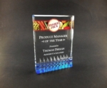 Diamond Rectangle With Sapphire BaseThe design of this acrylic award lets the blue refract up through the award. All items include lettering and logo in one location. Available in 7, 6, and 5. New item!Call 800-830-3386 to buy now!