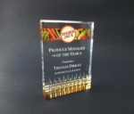 Diamond Rectangle With Gold BaseThe design of this acrylic award lets the gold refract up through the award. All items include lettering and logo in one location. Available in 7, 6, and 5. New Item!Call 800-830-3386 to buy now!