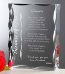 Maritime Acrylic AwardHigh Scalloped Edge Acrylic Block Award. The carved edges on the crystal clear acrylic award brilliantly reflect the light and the laser engraving. 1-3/16 thick (see alternate photos).Call 800-830-3386 to buy now!