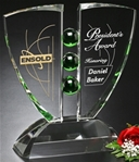 Emerald Crystal Pinion AwardCrystal Award with emerald green spheres flanked by two glass wings with ample etching space, sitting on a crystal base.New item! Also available in BLUE.Call 800-830-3386 to buy now!
