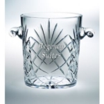8.25 Lead Crystal Ice BucketThis   high-quality crystal ice bucket is ideal for ceremonies and celebrations. The beveled glass leaves ample space for your custom logo and  message.New item! Call 800-830-3386 to buy now!
