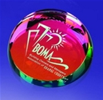 Dichroic Crystal Paper Weight This paperweight changes colors according to the angle you look at it. A perfect gift for the office.Display box included.Call 800-830-3386 to buy now!