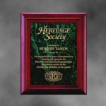 Mahogany Finish Frame w/ Marble InsertCulture and elegance are immediately in evidence when this stately Mahogany Frame Plaque with Green Marble Inset and Brass Plate Award is showcased. This engraved plaque from our Executive line combines the elegance of marble and richness of Mahogany. Call 800-830-3386 to buy now!
