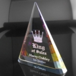 7 Optic Crystal TalentThis Optic Crystal pyramid refracts colors and light through a prism of cut angles that changes as you move the award. Gift Box included.Call 800-830-3386 to buy now!