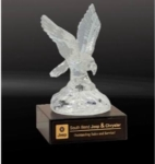Glass Eagle On Marble Base 		 	  This contemporary glass eagle has been an industry standard for years, providing the look of lead crystal and the weight of solid marble at a price that fits your budget. 8 eagle on 2 base.Call 800-830-3386 to buy now!