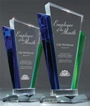Optic Crystal Palace Award  This  Optic Crystal Award has blue and green prisms that accent the award and refracts light. Ample space on the face to etch your logo and text.Comes in 11 and 9½. Also available with black accents.