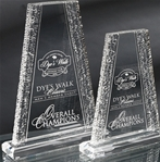 Crinkle Edge Acrylic Tower This unique rising tower and the crinkle design running along both sides sets off your top performers accomplishments. Reverse precision laser engraving adds depth to your logo and personalization. All items include lettering and logo. Available in 9 and 11.   Call 800-830-3386 to buy now!