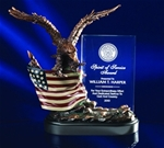 10 Bronze Finish Eagle with Flag & Crystal PlaqueThis bronzetone eagle soaring over the hand-painted, intricately detailed American Flag supports a clear crystal 4 x 6.25 panel that tells the heroic story.Call 800-830-3386 to buy now!