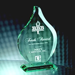 8¾ Jade Crystal Beveled FlameThis award has a nice etching area for your logo and message.  Gift Box included.Call 800-830-3386 to buy now!