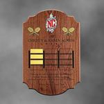 14 x 21 Solid Walnut Shield PlaqueThis sculpted solid walnut perpetual plaque is laser engraved with optional gold highlighting on your custom logo or design. Call 800-830-3386 to buy now!