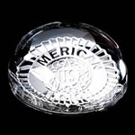 "Crystal Domed Paperweight - 3 ½"" Dia. This 24% lead crystal paperweight magnifies your message for an eye-catching display that compliments any decor.Additional Charges For Engraving and Logos"
