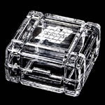 "3 ¼""x 3 ¼"" Crystal Box. This 24% lead crystal box with its contemporary flair is a high-class compliment to any desk and perfect for storing anything from paper clips to candy. Etched copy placed on top.Additional Charges For Engraving and Logos"