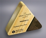 The rich look of the Bamboo will accent any personalized message. With this stone and Bamboo triangle reward your best employees with professional laser engraving. Bamboo is a sustainable and renewable resource.Additional Charges For Engraving and Logos