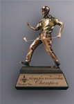 This Cast Resin Golfer with an antique finish is very detailed and rivals high end golf scultptures. The expression of the making that perfect shot is beautifully detailed in the body language and facial expression of this impressive sculpture.Additional Charges For Engraving and Logos